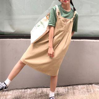 Plain Pinafore Dress Almond - One Size