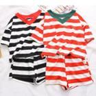Set: Striped Short-sleeve V-neck T-shirt + Shorts