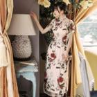 Short-sleeve Embroidered Floral Mesh Midi Qipao