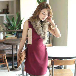 Sleeveless Color-block Dress