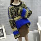 Long-sleeve Printed Loose-fit Knit Top