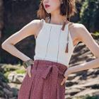 Halter Knit Top White - One Size