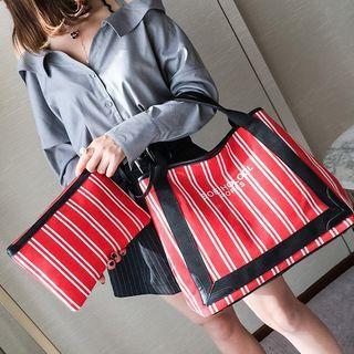 Set: Striped Canvas Tote Bag + Pouch