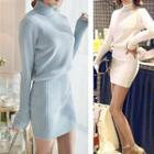 Plain Mock-neck Knit Dress