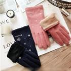 Embroidered Snowflake Touchscreen Gloves