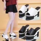 Faux Leather Wedge Slide Sandals