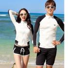 Couple Matching Zip Rash Guard / Swim Shorts / Bikini Top / Set