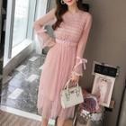 Long-sleeve Sheer Panel Lace Midi Dress