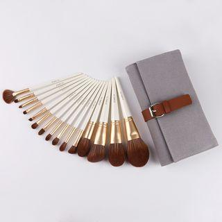 Set Of 15: Makeup Brush Zs153 - With Case - White & Gold - One Size