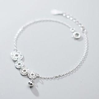 925 Sterling Silver Disc Anklet S925 Silver - Silver - One Size