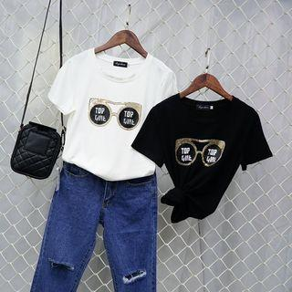 Sequined Short Sleeve T-shirt