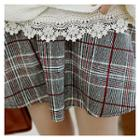 Band-waist Plaid Skirt