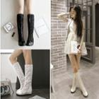 Lace Hidden Wedge Tall Boots