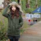 Padded Faux Fur Hooded Military Coat