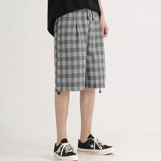 Plaid Drawstring-cuff Shorts