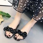 Bow Accent Block Heel Slide Sandals