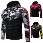 Camouflage Panel Lettering Hooded Zip Jacket