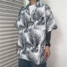 Couple Leaf Print Short Sleeve Shirt