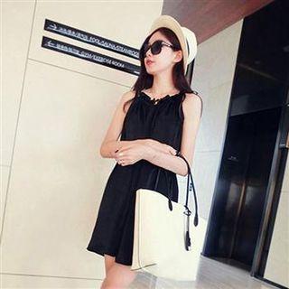 Sleeveless Drawstring Chiffon Dress Black - One Size