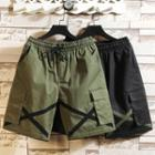 Drawstring-waist Straight-cut Cargo Shorts