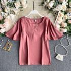 Plain Round-neck Bell-sleeve Chiffon Top