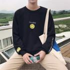 Smiley Face Embroidered Pullover