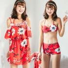 Set: Floral Print Swimdress + Bikini