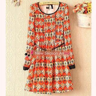 Long-sleeve Patterned A-line Dress