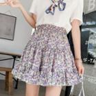 Floral Tiered Mini A-line Skirt