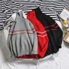 Striped Lettering Knit Sweater