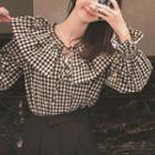 Bell-sleeve Plaid Blouse