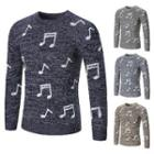 Round Neck Musical Note Sweater
