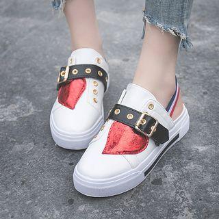 Buckled Platform Backless Sneakers