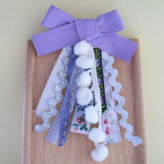 Purple Ribbon Necklace / Pin