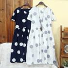 Drawstring Dotted Short-sleeve Dress