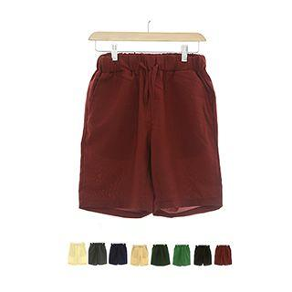 Elasticized-waist Linen Blend Colored Shorts