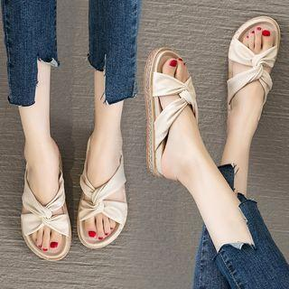 Faux Leather Knotted Platform Slippers