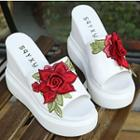 Floral Embroidered Platform Wedge Slide Sandals