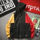 Colored Panel Hooded Zip-up Jacket