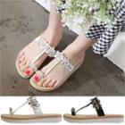 Toe-loop Rhinestone Sandals