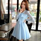 Long-sleeve Tie-neck Lace Panel Dress