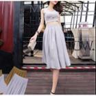 Set: Sleeveless Top + Pleated Skirt
