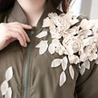 Floral Appliqu  Zip Jacket