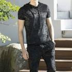 Set: Short-sleeve Striped Hooded Top + Sweatpants