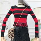 Striped Lettering Knit Top
