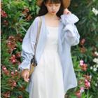 Bell-sleeve Light Jacket Light Blue - One Size