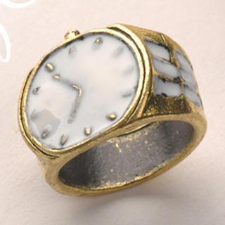 Vintage Watch Ring - White White - One Size