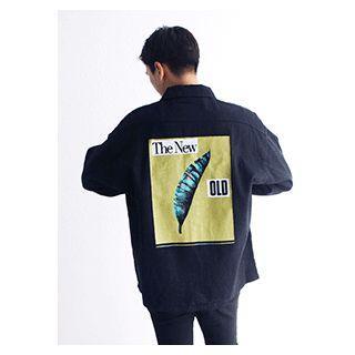 Pocket-detail Printed Denim Shirt