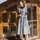 Short-sleeve Contrast Trim A-line Midi Dress