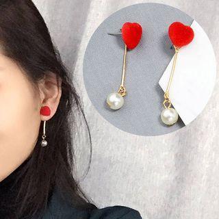 Heart Faux Pearl Drop Earrings